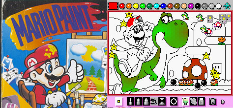 Mario Paint — using a colouring book page.