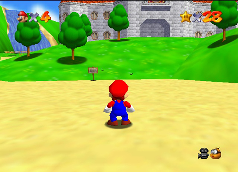 Mario outside of the starting castle.
