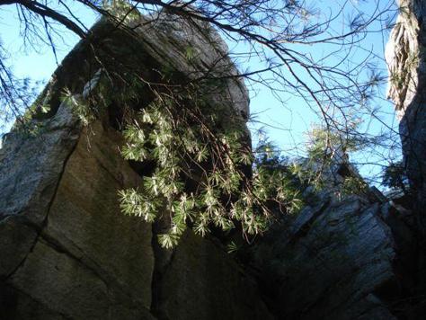 below cliffs