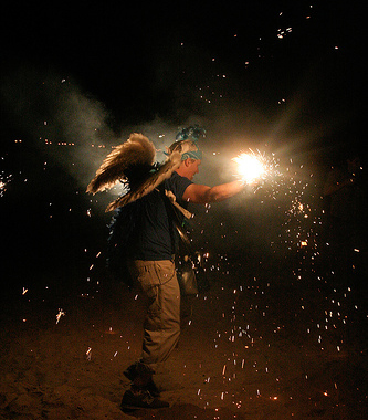 angel with sparklers
