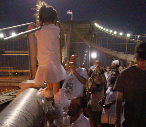 young girl on stilts
