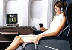 first class seating aboard Qantas Airways