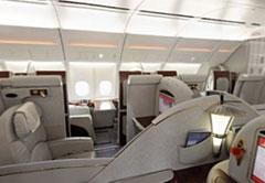 first class seating aboard Emirates