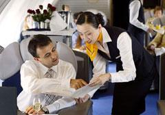 first class seating aboard Lufthansa