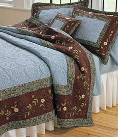 blue and brown bed set