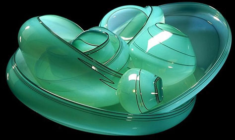 seafoam-coloured chihuly glass basket