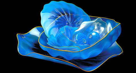 blue chihuly glass seaform