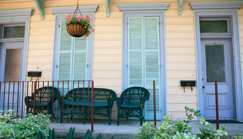 colorful front porch of a New Orleans home