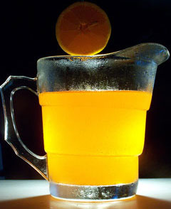 orange juice in a pitcher