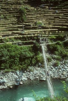 suspension bridge over nepal river