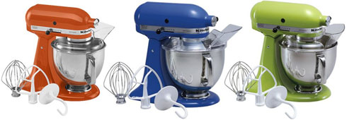 three kitchen aid mixers