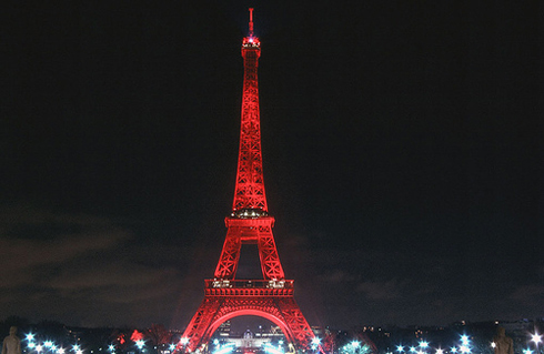 Eiffel Tower in Chinese New Year Red