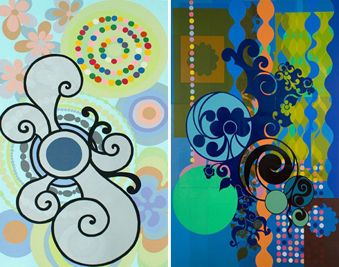 Many of these explosions of colour originate in her small, compact studio,