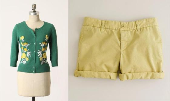 Anthropologie From-the-Green Cardi, $128; J. Crew Broken-in boyfriend chino short, $49.50.