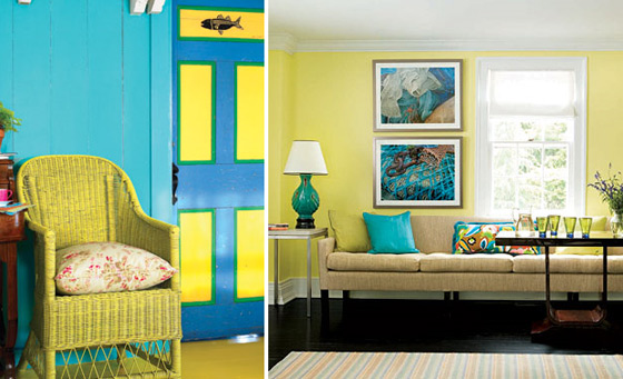 yellow chair and sofa turquoise wall