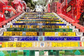 5-Colorful mosaic tile stairway in Lapa, Rio de Janeiro