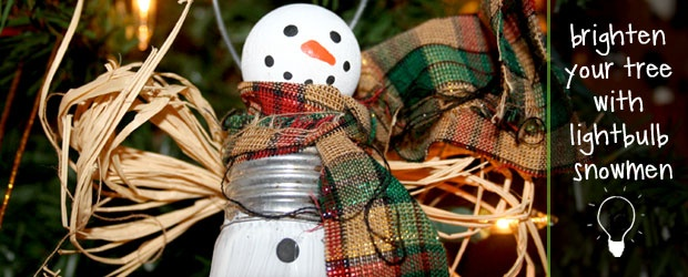 DIY Lightbulb Snowmen Ornaments + 6 Snowman Patterns