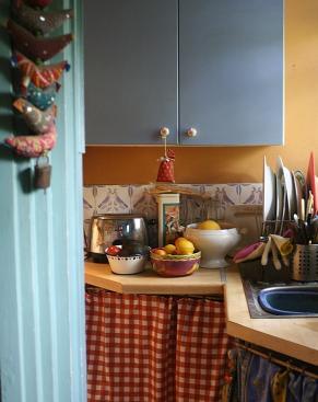 Cluttered kitchen corner