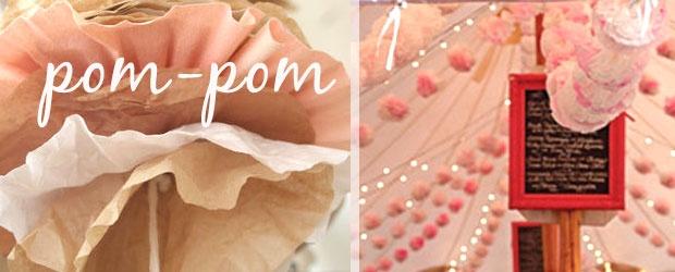 Reception Tent DIY: Coffee Filter Pom-Pom How-To