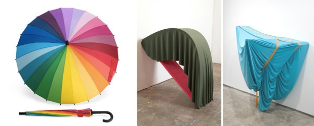 Eclectic Color Roundup: 24 Color Rainbow Umbrella, Fouled!!!, The Fast Lane & Textile Sculptures
